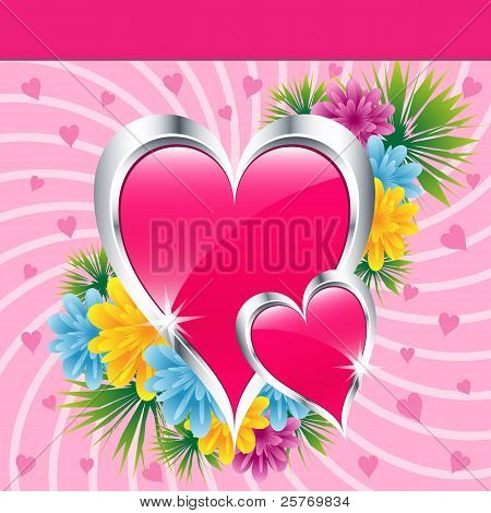 Pink Love Hearts And Flowers