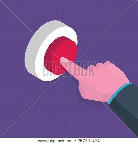 Isometric Hand Presses Red Button, Start Up Concept. Vector Illustration In Flat Style.