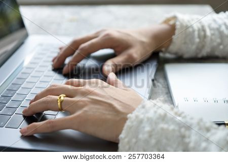 Closeup Business Woman Hands Typing On Laptop Keyboard On Desk. Business Girl Using Notebook Compute