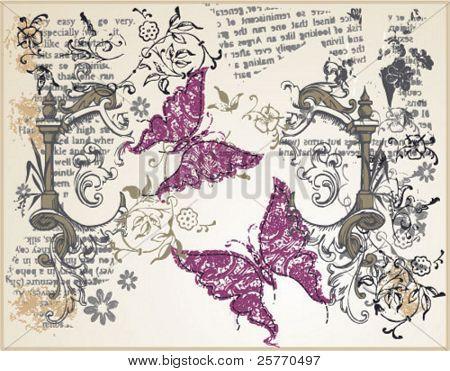 Vintage butterflies graphic