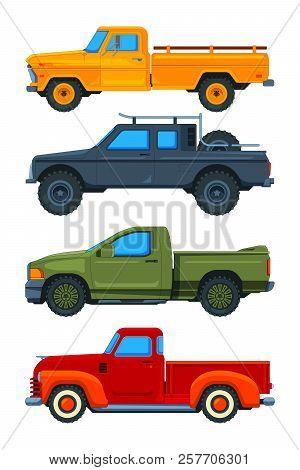 Vector Pickup Trucks. Various Illustrations Of Transport. Illustration Of Pickup Transport, Transpor