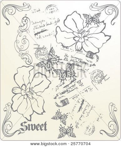 Vintage flowers and butterflies graphic