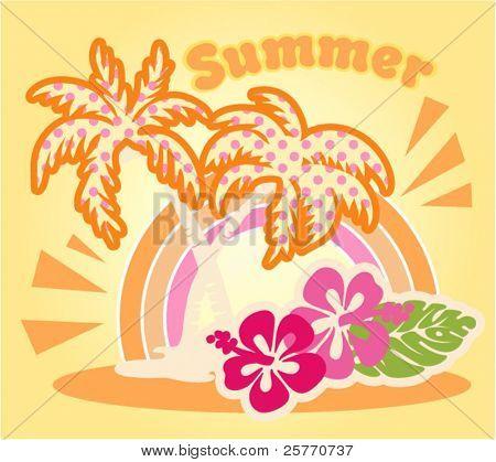 Summer beach vector graphic