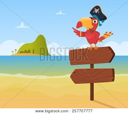 Pirate Parrot. Funny Colored Bird Arara Sitting On Wood Sign Direction Vector Background Illustratio