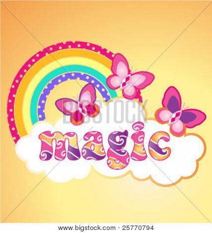 Magic butterflies vector graphic