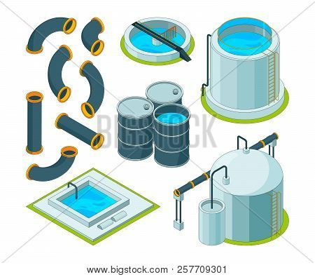 Water Purification. Treatment Watering Cleaning System Chemical Laboratory Vector Isometric Icons. I