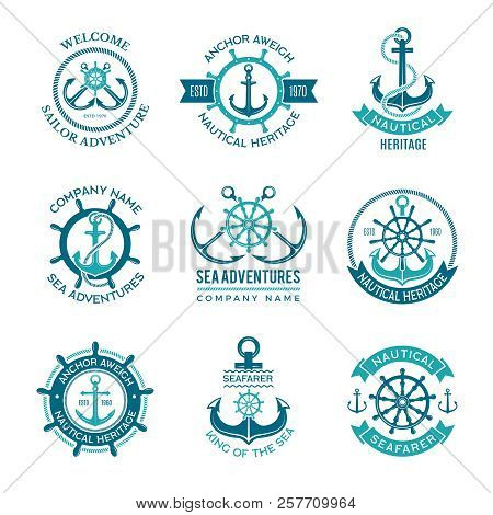 Marine Logo. Nautical Vector Emblem With Ship Anchors And Steering Wheels. Cruise Boat Sailor Monoch