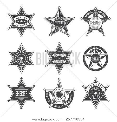 Sheriff Stars Badges. Western Star Texas And Rangers Shields Or Logos Vintage Vector Pictures. Illus