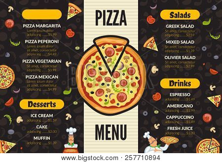 Pizzeria Menu Template. Italian Kitchen Cuisine Food Pizza Ingredients Cooking Lunch And Desserts Ve