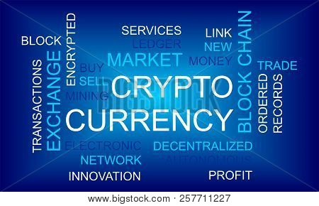Crypto Currency. Flat Thin Line Designed Vector Text On Dark Background. Concept Of Business, Financ