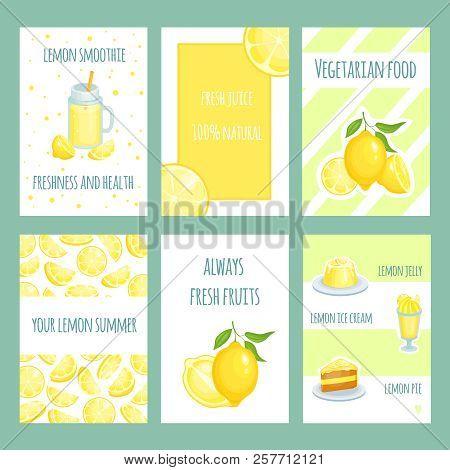 Fresh Lemon Cards. Lemonade And Lemon Citric Juice With Sliced And Fresh Fruits. Vector Retro Templa