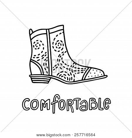 Cowboy Style Shoe With A Handwritten Word Comfortable. Hand Drawn Outline And Stroke. Vector Illustr