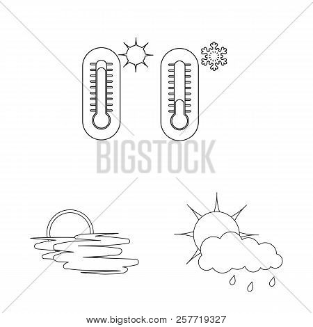 Vector Illustration Of Weather And Weather Symbol. Set Of Weather And Application Stock Symbol For W
