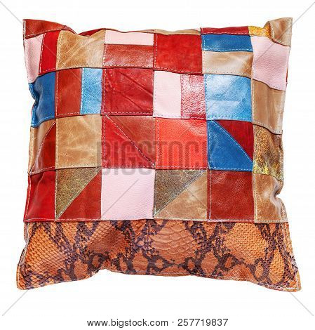 Top View Of Handmade Colorful Patchwork Leather Throw Pillow Isolated On White Background