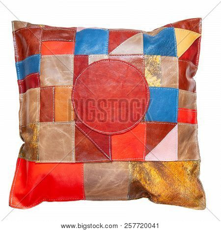 Handmade Motley Patchwork Leather Pillow Isolated On White Background