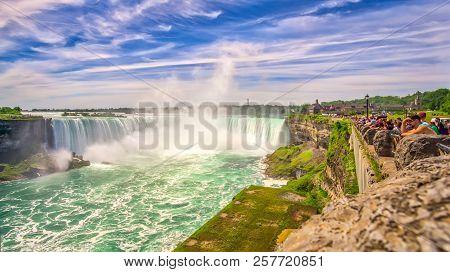 Niagara Falls,canada - June 26,2018 - View From Promenade At The Horseshoe Falls At Niagara River. T