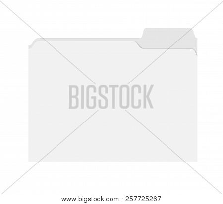 File Folder With Cut Tab Isolated On White Background, Template. Empty Document Case Top View, Mocku