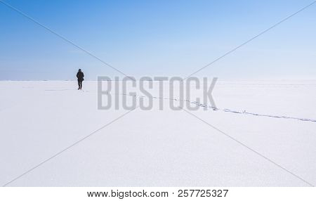 Lonely Teenage Girl Walks In Winter