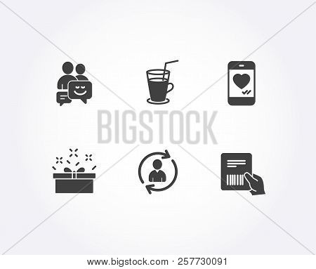 Set Of Present Box, Cocktail And Communication Icons. Person Info, Love Chat And Parcel Invoice Sign