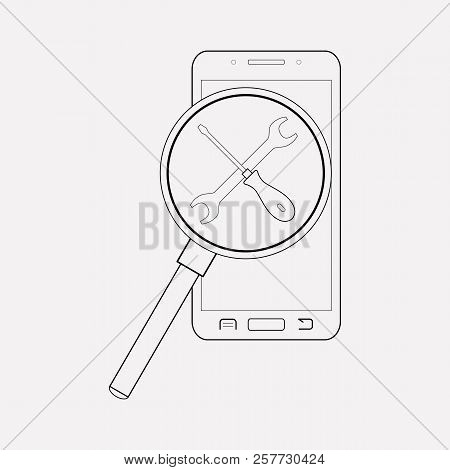 Find My Phone Service Icon Line Element.  Illustration Of Find My Phone Service Icon Line Isolated O