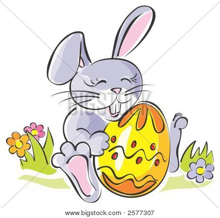 Cute Rabbit Holding Easter Egg. Artistic Illustration