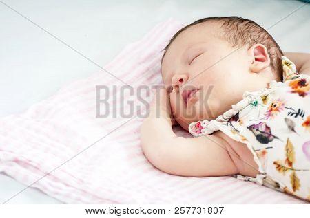 Sweet Caucasian Newborn Baby Sleeping Concept Image.