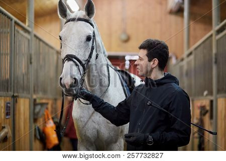 Man holds white horse by bridle in riding stables.