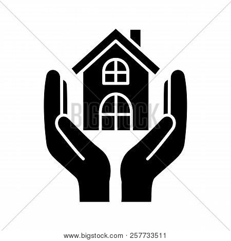Affordable Housing Glyph Icon. Silhouette Symbol. Shelter For Homeless. Real Estate Insurance. Hands
