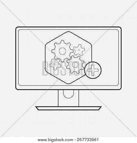 Computer Widget Icon Line Element. Vector Illustration Of Computer Widget Icon Line Isolated On Clea