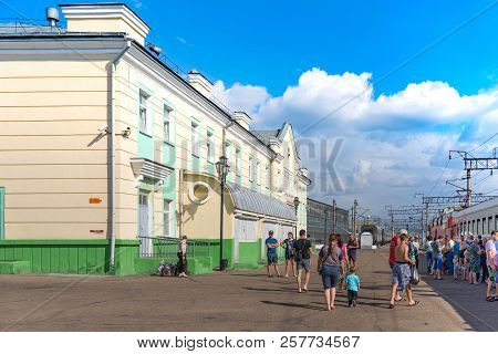 Ulan-ude, Russia - July 17, 2018: Railway Station Of The City With The Road, Trains And People.