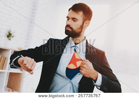 Man In Suit Hides Superhero Side. Time For Action. Double Life. Alter Ego. Ger Ready. Save The World