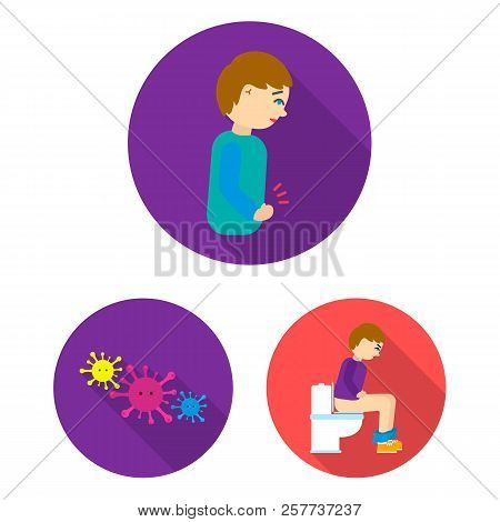 The Sick Man Flat Icons In Set Collection For Design.illness And Treatment Vector Symbol Stock Web I