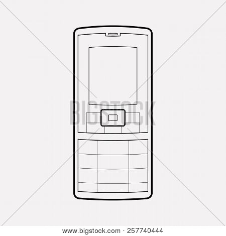 Old Mobile Phone Icon Line Element.  Illustration Of Old Mobile Phone Icon Line Isolated On Clean Ba