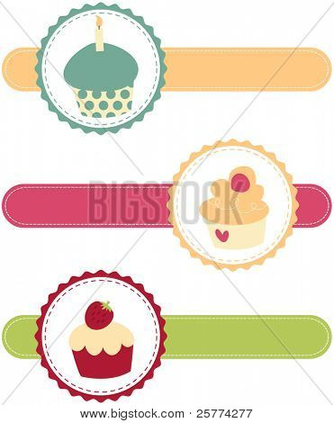 Cute delicious colorful cupcake banners illustrated.
