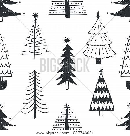 Seamless Pattern With Various Christmas Trees, Firs Or Spruces Drawn With Outlines On White Backgrou