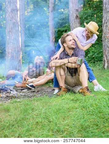 Find Companion To Travel And Hike. Company Friends Couples Or Families Enjoy Relaxing Together Fores