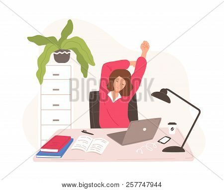 Smiling Woman Sitting At Desk With Laptop Taking Rest And Stretching Herself. Female Office Worker O