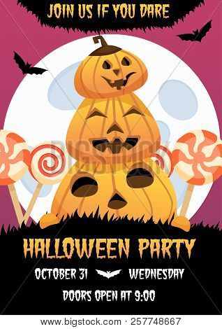 Happy Halloween Invitation Poster With Smiling Pumpkin And Candies On Background. Greeting Card .sca