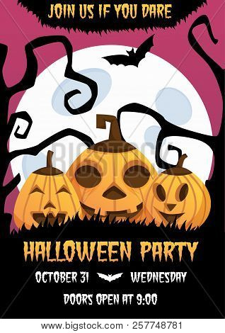 Happy Halloween Invitation Poster With Laughing Pumpkin Heads And Scary Trees On Background. Trick O