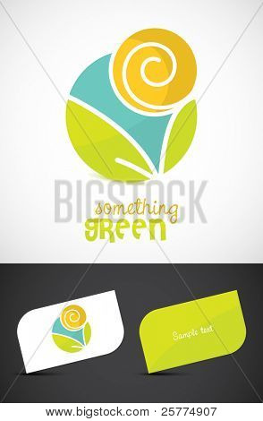 Modern eco-sun and leaves icon and business cards, ESP10 vector.