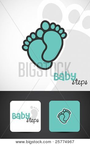 Baby feet, icon & business cards, Vector EPS10.