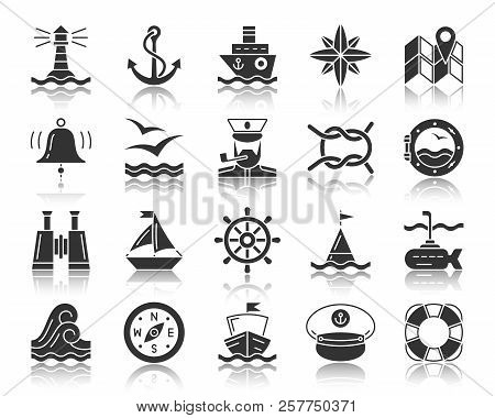 Marine Silhouette Icons Set. Monochrome Web Sign Kit Of Nautical. Sea Knot Pictogram Collection Floa