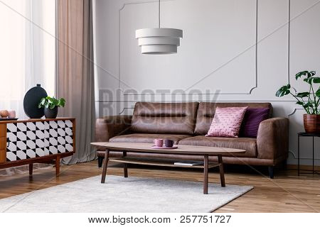 Real Photo Of Light Grey Sitting Room Interior With Window With Drapes, Leather Sofa With Pillows, C