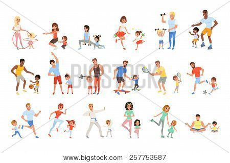 Set With Parents And Their Children Doing Different Sport Exercises. Family Time. Physical Activity