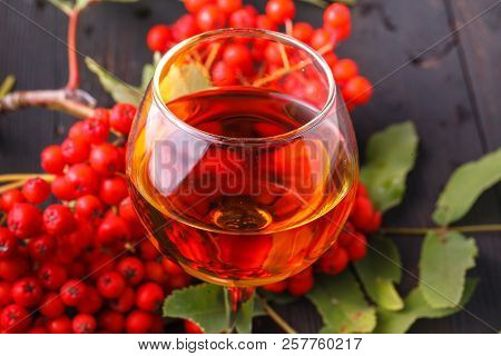 Rowan Tincture Of Alcohol In Glass, Concept Handmade Alco