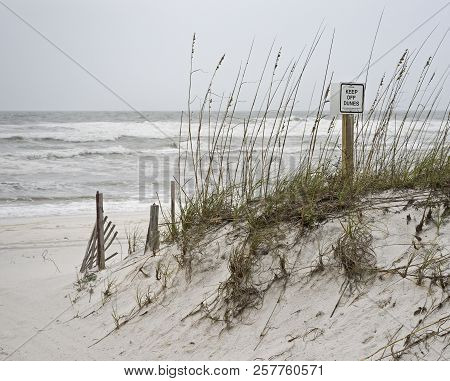 Sign Warning Beachgoers To Keep Off Sand Dunes On Florida Beach On A Stormy Day.