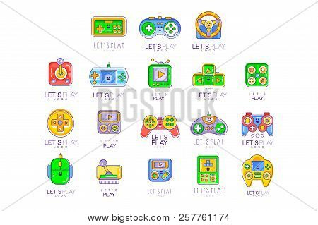 Game Gadget Collection In Line Style. Colorful Gameplay, Joystick, Gaming Controller. Vector Let S P