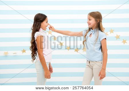 Girls Smiling Happy Faces Play Or Interact Stand Striped Background. Girl Best Friend Involved Commu