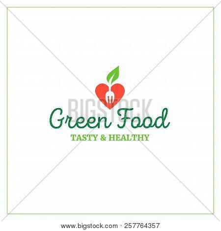 Green Food Cafe Restaurant Logo Emblem Symbol, Tasty Healthy Good Food Concept.strawberry Heart Icon