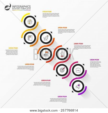 Infographic Design Template. Timeline Concept With 8 Steps. Can Be Used For Workflow Layout, Diagram